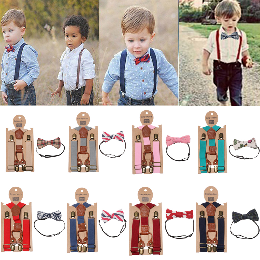 HOT Cute Braces Suspender And Bow Tie Set For Baby Toddler Kids Boys Girls Child