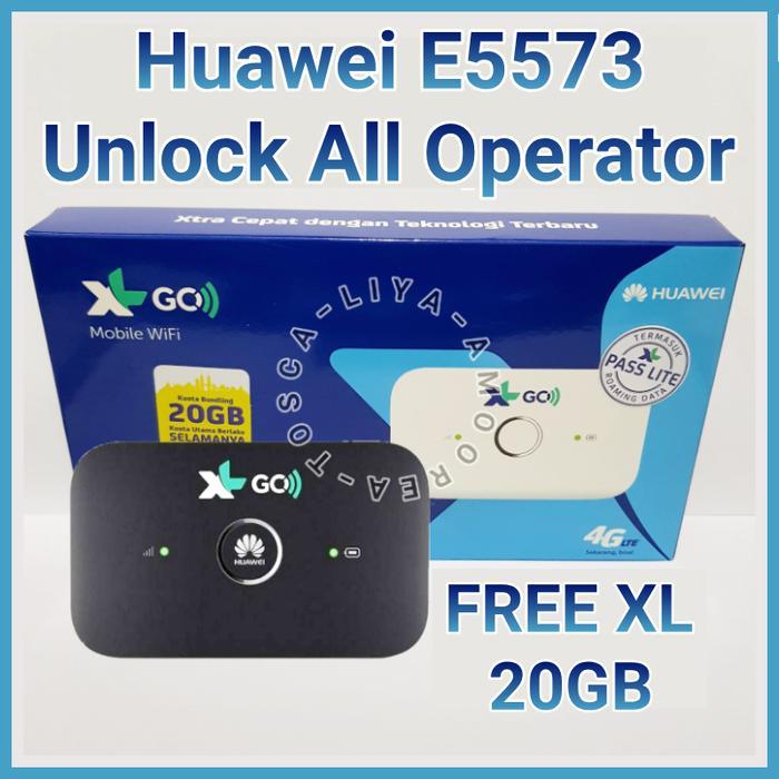 MiFi 4G Modem WiFi Huawei E5573 Unlock ALL Operator - FREE XL 20GB - Putih