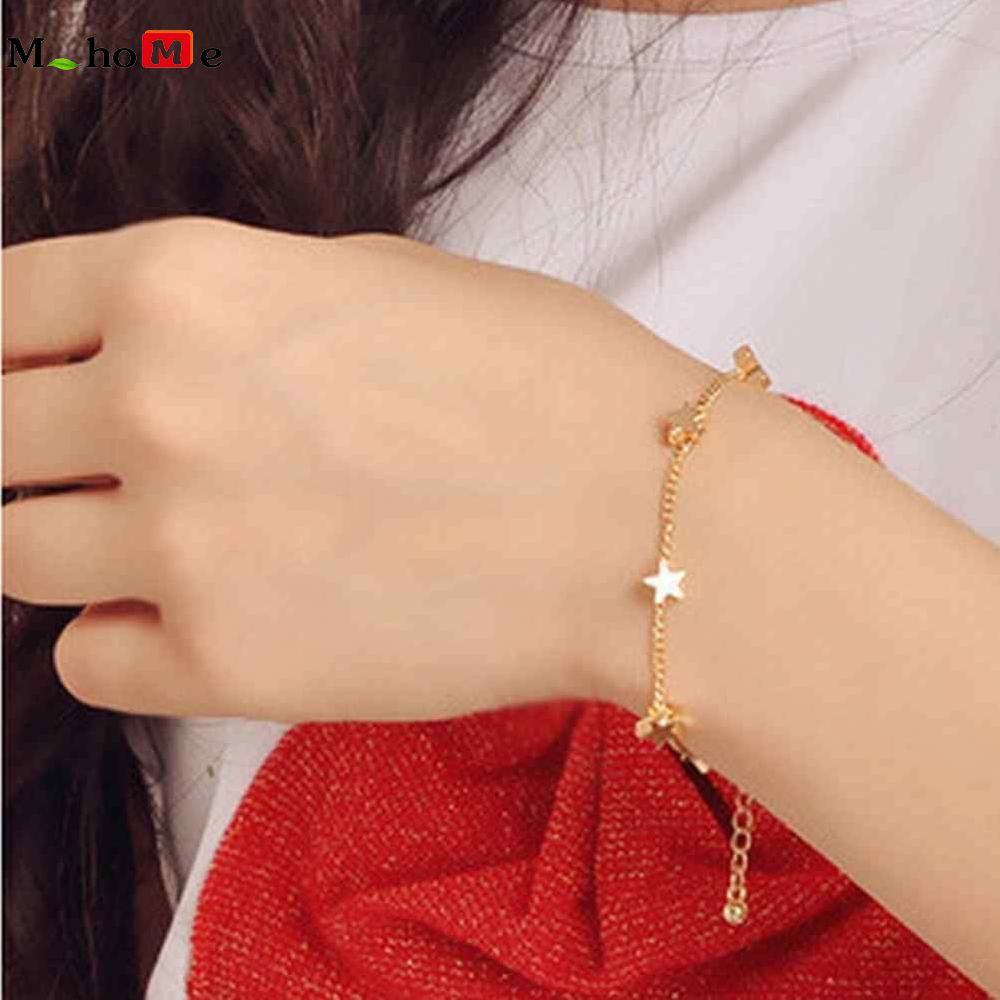 M_home Kreatif Stylish Fashion Gold Warna Retro Akesesoris Gelang Gelang Pentagram By M_home.