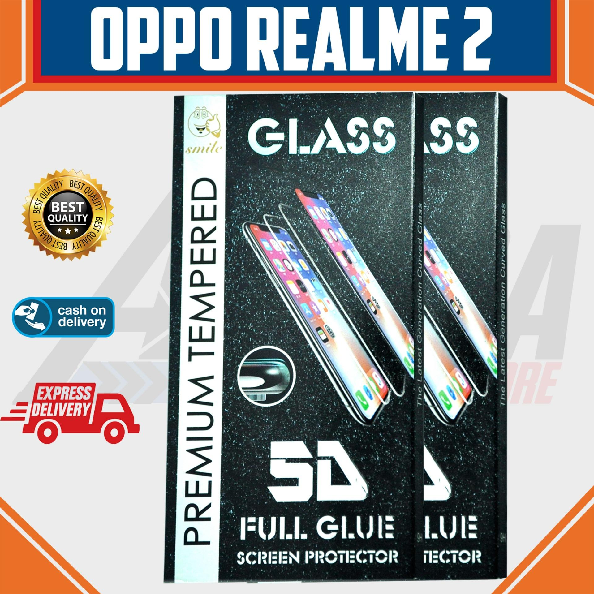Aldora Tempered Glass Oppo RealMe 2 5D Full Curved Screen Protector Smile Series Premium HD Quality