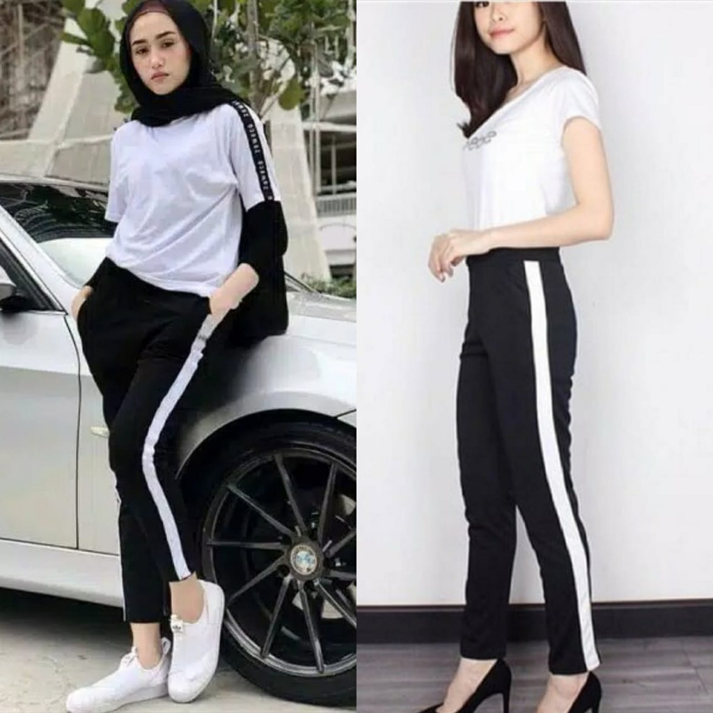 Sms Celana Garis Putih List Putih Pants New Model Stripe Legging Scuba Lazada Indonesia