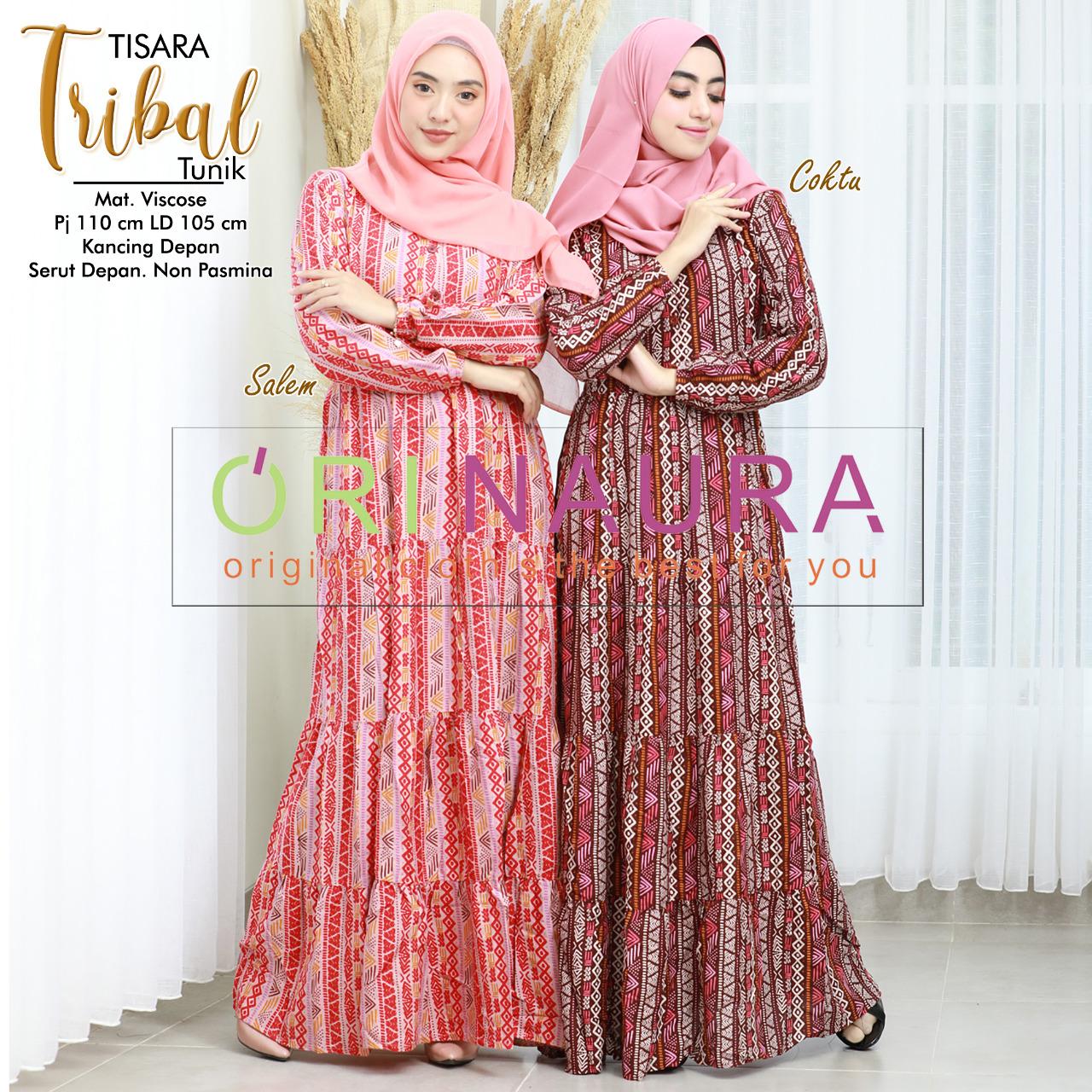 COD Realpict Dress Tisara Tribal Viscose Kancing depan Non Pasmina | Long Dress Hijab Brokat Model Pesta | Dress Muslim Modern Terbaru