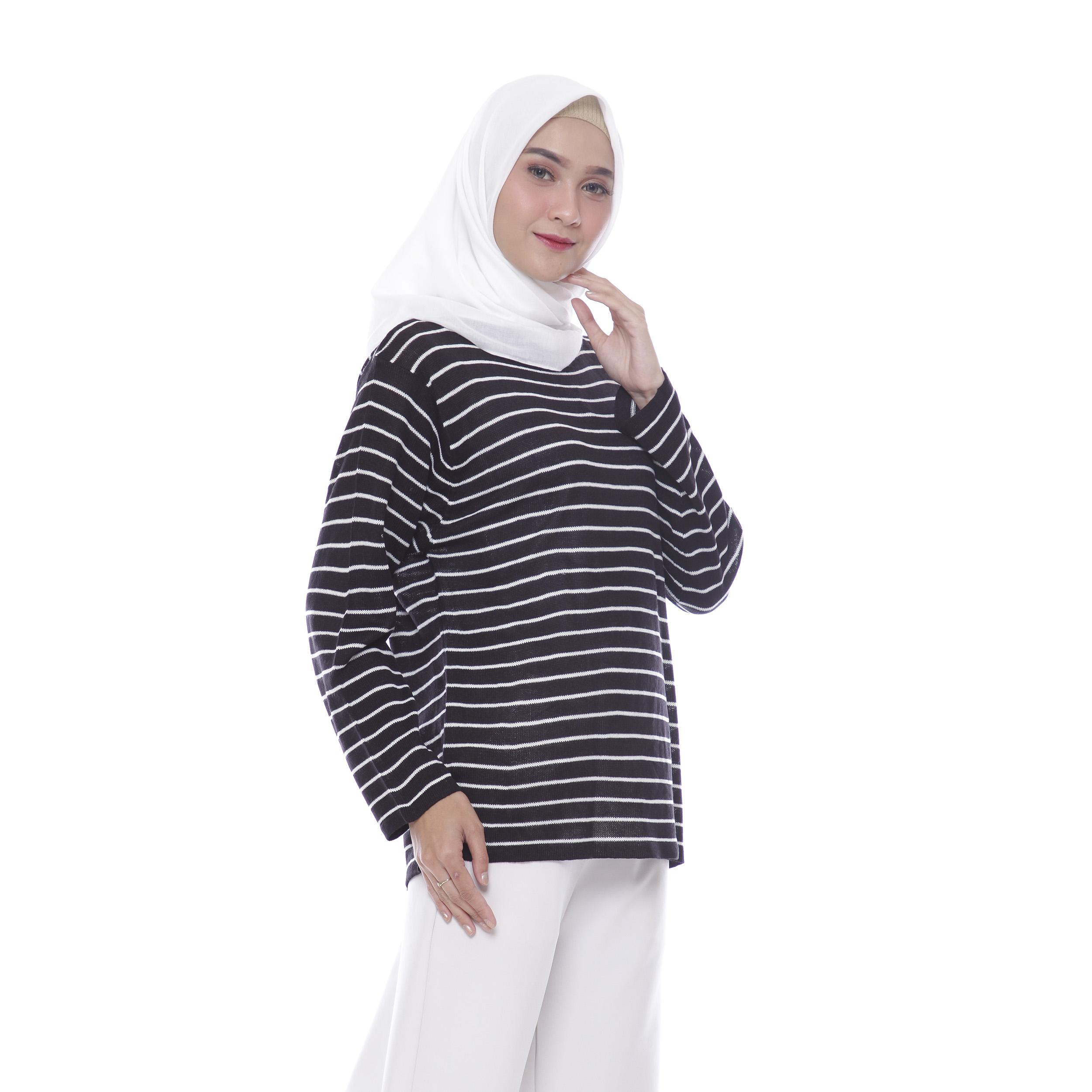 Baju Muslim Sweater Rajut Wanita Carla Stripe Real Pict By Awproject.