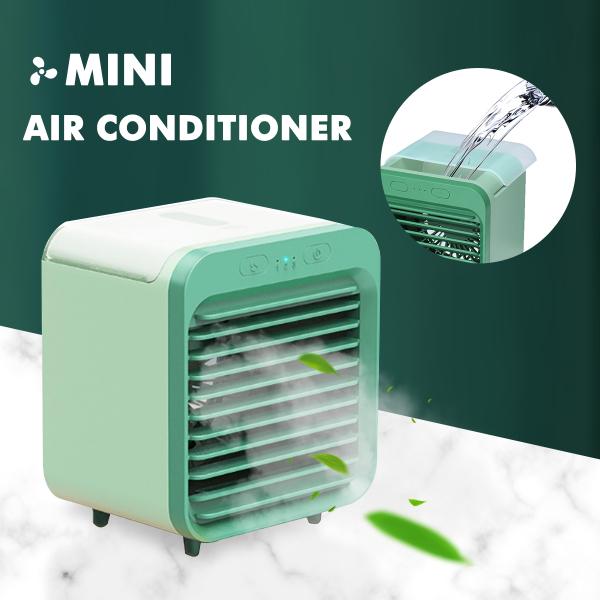 Qooiu USB Mini Smart Home Portable Multi-function Mini Fan Summer Cool Air Conditioner Humidifier Air Cooler Upgraded Mute Multi-function Humidifier Air Conditioner