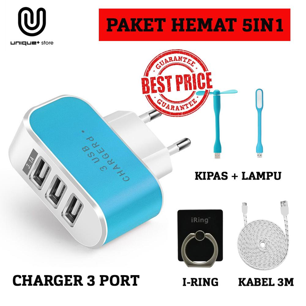 PAKET HEMAT 5IN1 Unique Home Travel Chager USB 3 Port PU 803 For Smartphone Samsung Xiaomi