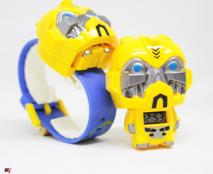Transformer Jam Tangan Anak Robot Bumblebee - Digital Karakter - Rubber Strap - In Out Display / Tampilan Waktu In Out By Setala.