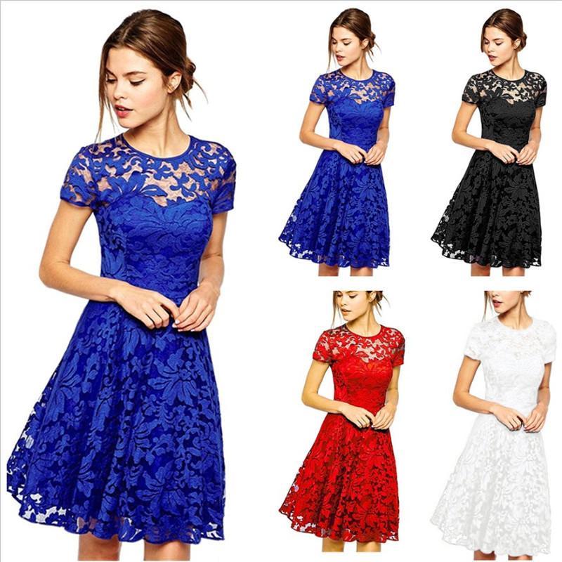 【COD+Gratis Ongkir】Plus Dress Wanita Fashion Elegan Berlubang Gaun Renda Pesta Gaun Langsing Ukuran Plus