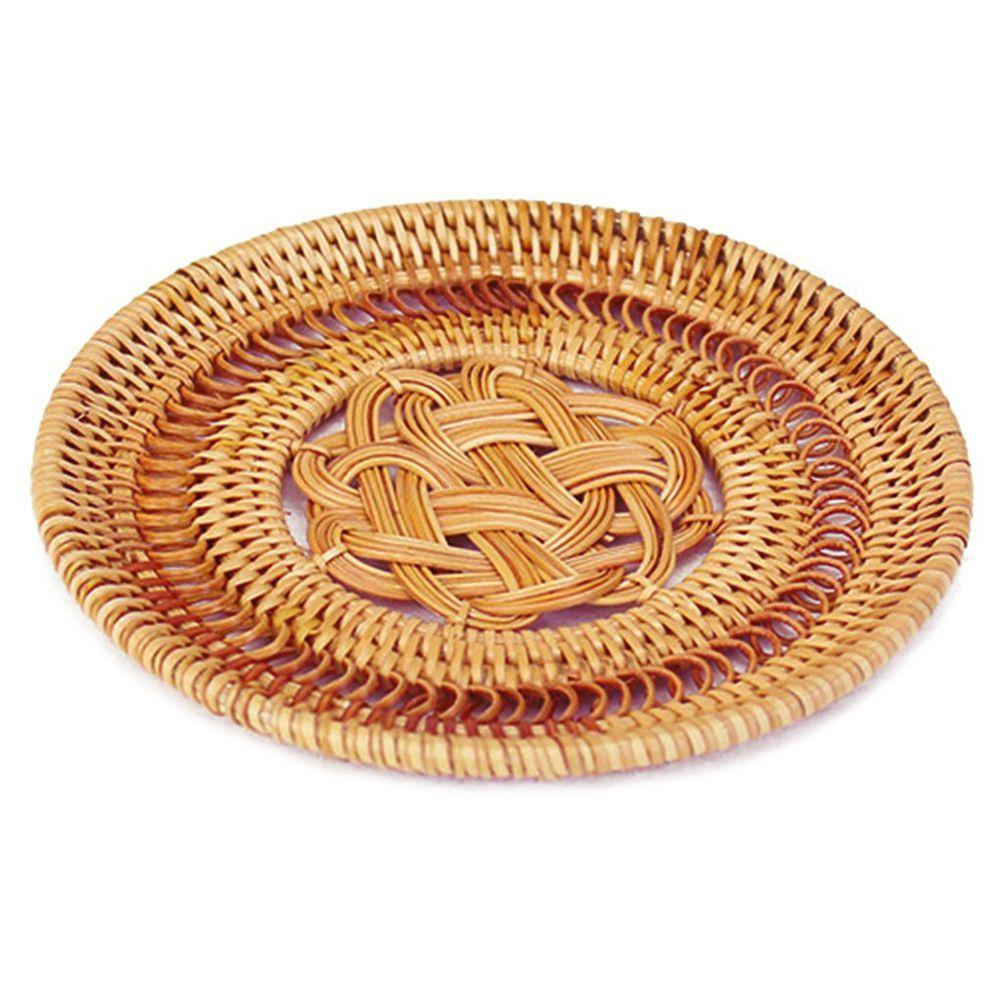 Handmade Desk Heat Insulation Mat Round Rattan Woven Floral Weave Coasters Table Sets Coasters, Rattan, 5.12 Inches / 13cm By Sunnny2015.