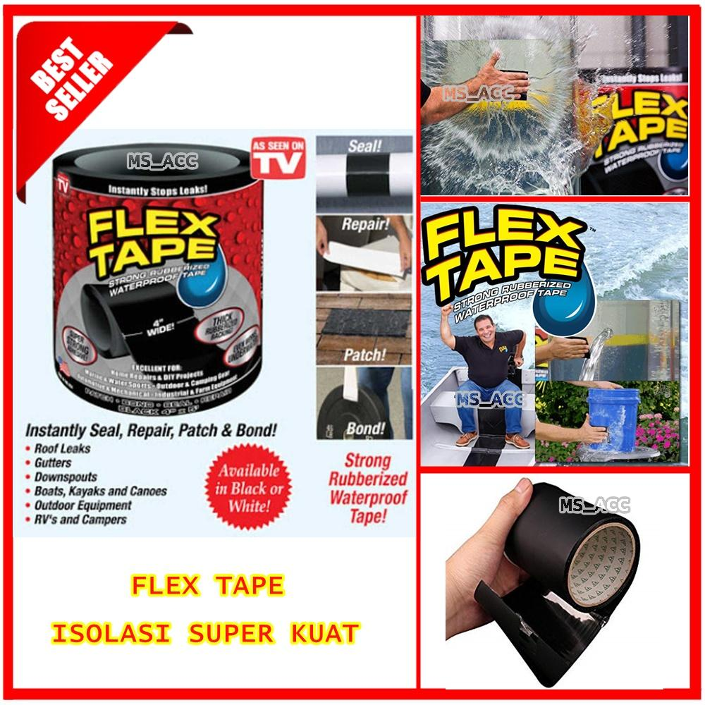 Flex Tape Lakban Waterproof / Lakban Anti Air / Lakban Anti Bocor Lebar 4 Inch - Black [ Ms_acc ] By Ms_acc.