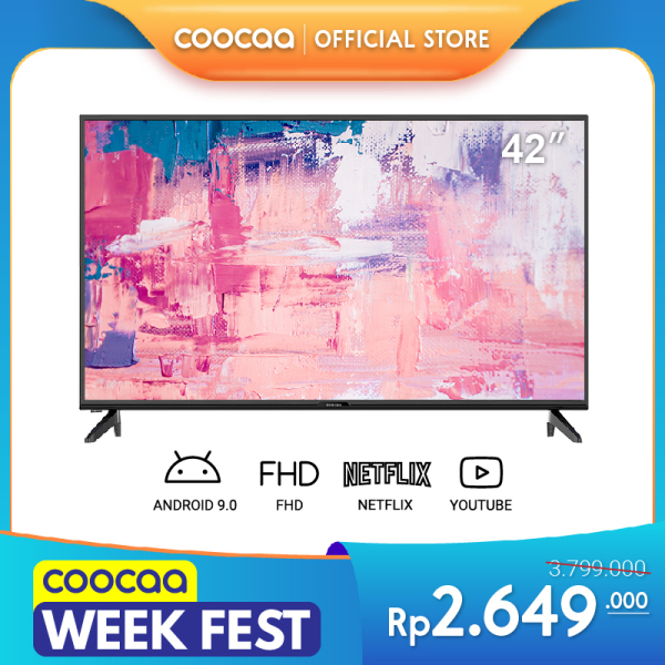 COOCAA 42 inch Smart LED TV - Android 9.0 - FULL HD - Netflix & Youtube - Google Assistant (Model 42S3G)