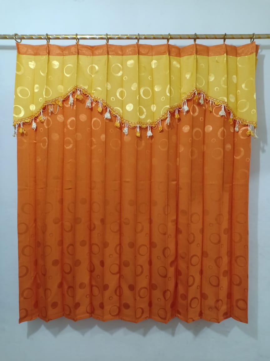 Gorden hordeng jendela tanggung 2 kaca manohara renda pony tempel kuning ORANGE ukuran 150 x 135