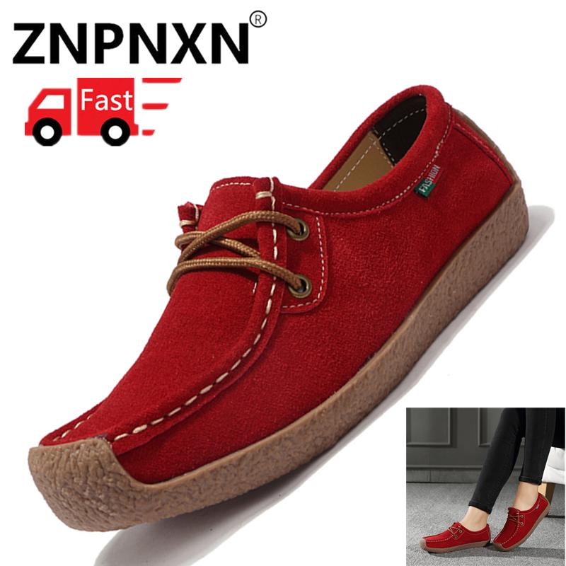 China. ZNPNXN 2019 Women Flats Leather Shoes Moccasins Mother Loafers Soft  Leisure Female Flats Driving Women Shoes b726c88d1a95