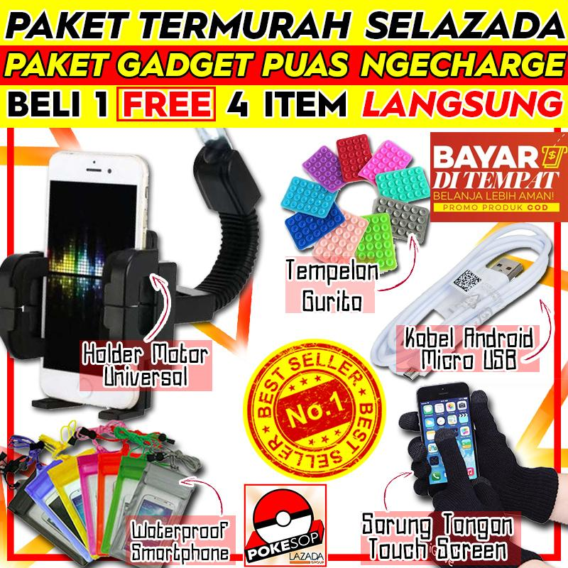 [promo] Paket Termurah Holder Motor Universal Docking Free Waterproof Smartphone + Sarung Tangan Iglove Touch Screen + Tempelan Gurita + Kabel Android Micro Usb By Pokeshop.