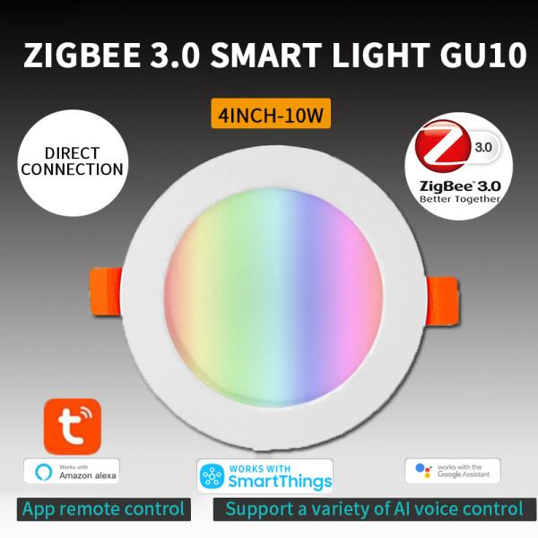 Bảng giá 【Hourser】đèn Âm Trần Thông Minh Tuya Zigbee 3.0 Đèn Led Âm Trần 4 Inch RGBCW 10W Điều Khiển Bằng Giọng Nói Hoạt Động Với Alexa Google Home