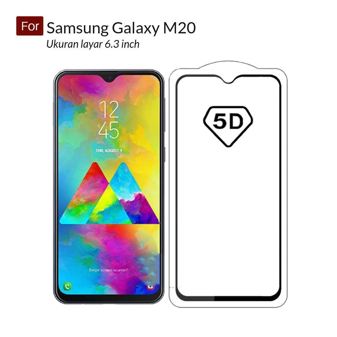 Renzana acc Super Premium Full Cover Tempered Glass 5D Round Curved Edge For Samsung Galaxy M20 ( 6.3 inch ) - Hitam