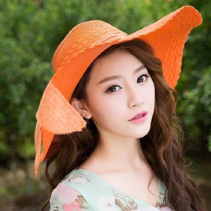 Topi Fashion Kpop Beach Hat Big Hat Straw Bow Ju1062 By The Prime.