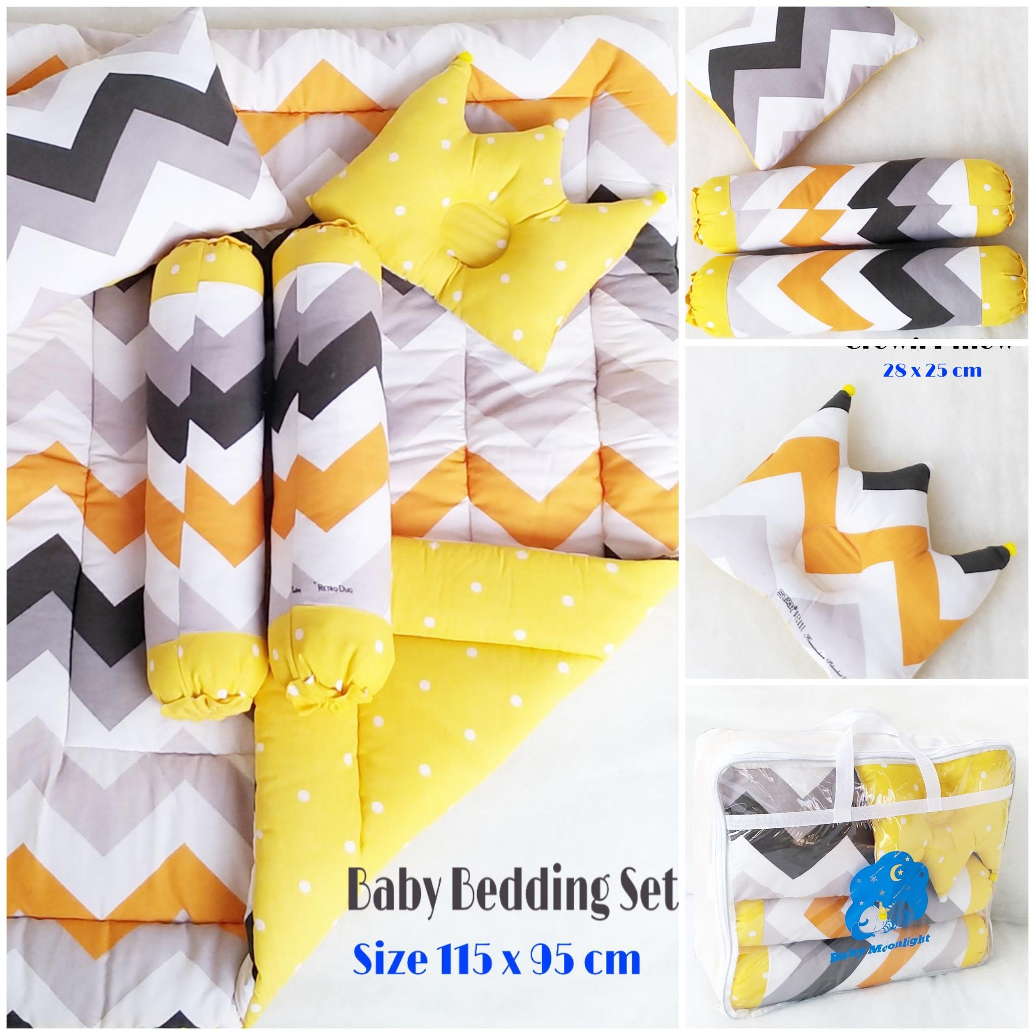 Baby Bedding Set - Retro Duo Yellow By Babymoonlighthouse.
