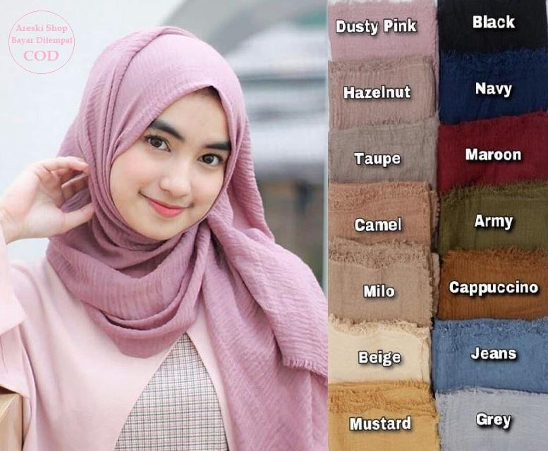 NEW Hijab Pasmina Crinkle / Jilbab Pashmina Crinke / Kerudung Phasmina Cinkle / Jibab Hijub Pasmina Hijab Pasmina Tringkel / Polos Basic Panjang Warna Terlengkap MURAH - ARS