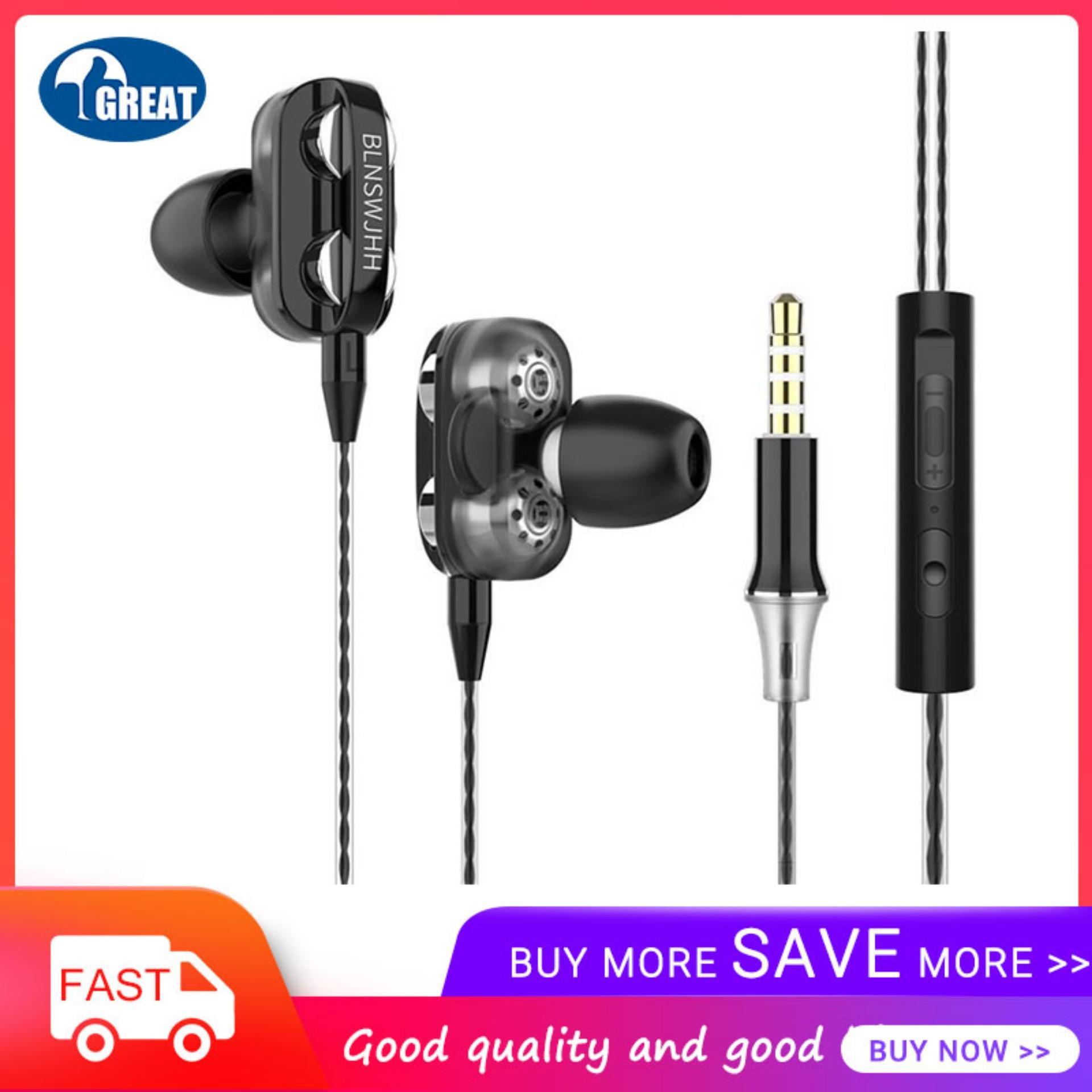 Goodgreat A4 In-Ear Earbud Headphone Ganda Dinamis Earphones Driver dengan MIC Bass Kuat dan