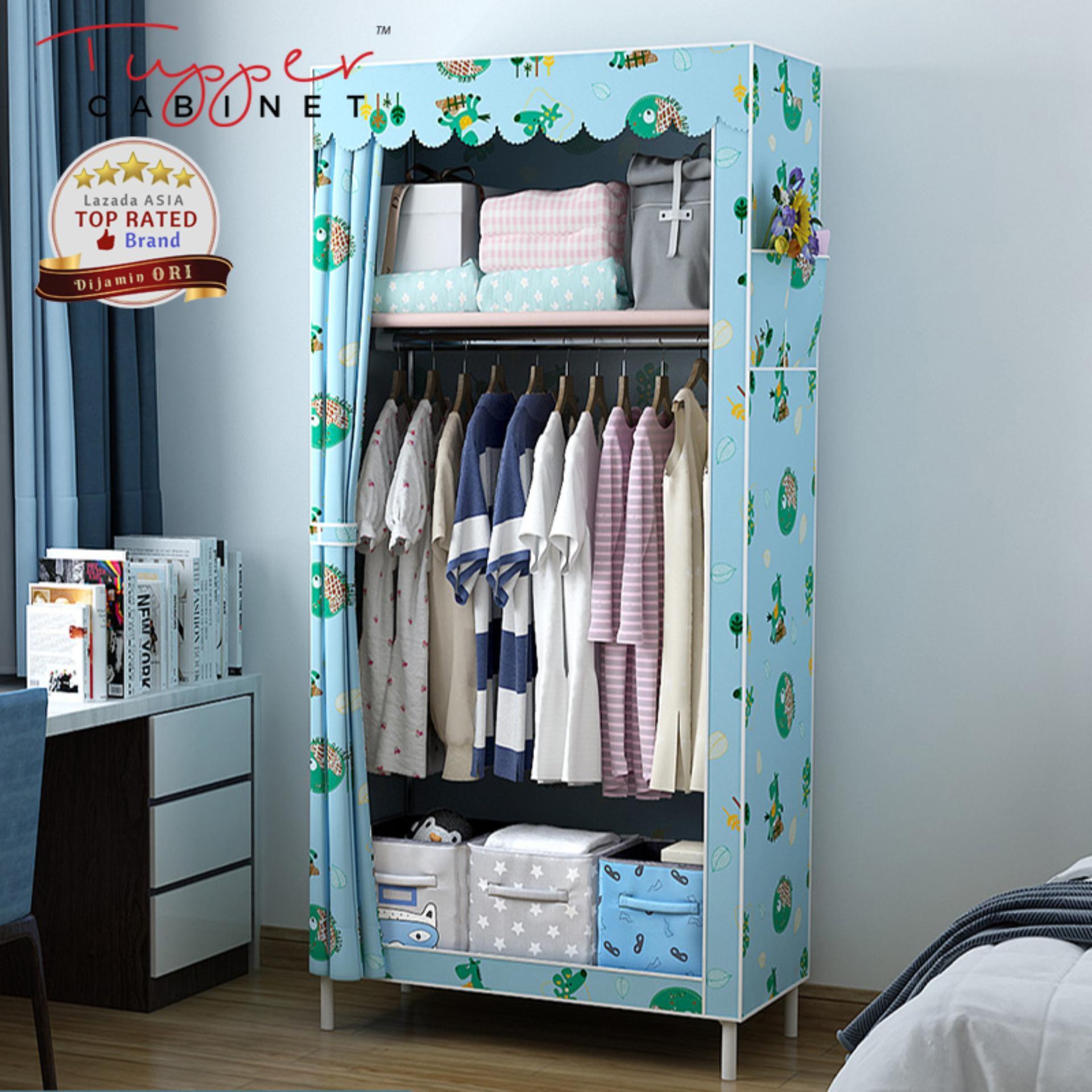 Lemari Pakaian Portabel Cloth Rack Serbaguna Organizer Rak Baju Wardrobe Closet Kain Non-Woven Rangka Besi Y70 By Tupper Cabinet.