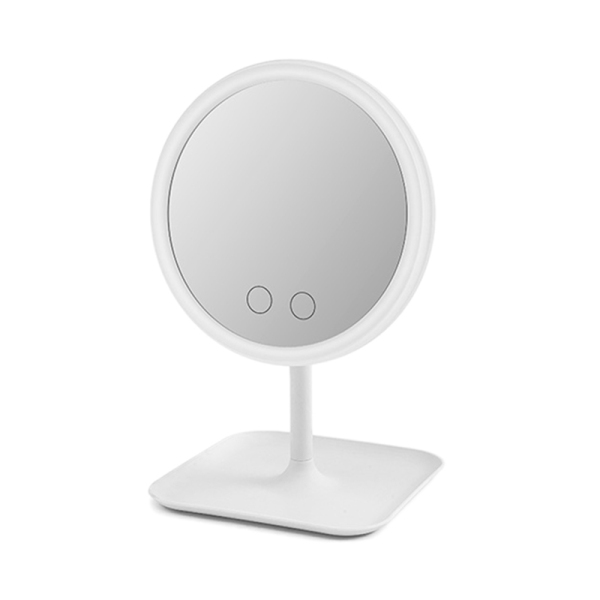 3 Colors Illuminated Mirror Led Light Makeup Mirror Cosmetic Vanity Desktop Storage Mirror Press Screen Dimmable ,White
