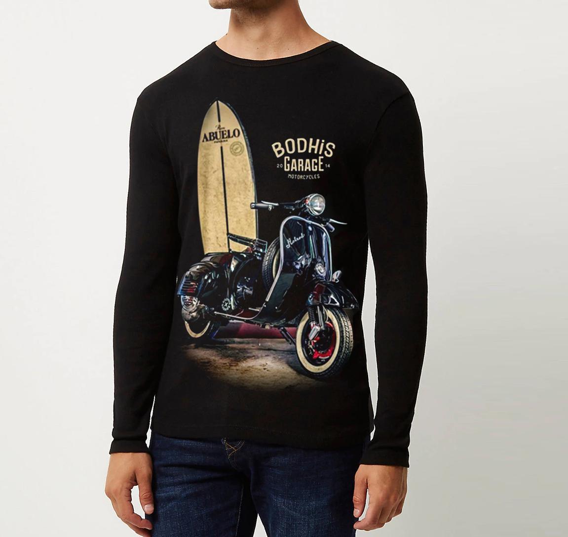 Berton Store Kaos Pria Lengan Panjang Vespa Hitam / Kaos T-Shirt Distro Pria / Kaos Pria Keren / Baju Pria Tangan Panjang / Kaos Pria Terbaru / Kaos Distro Pria Bandung