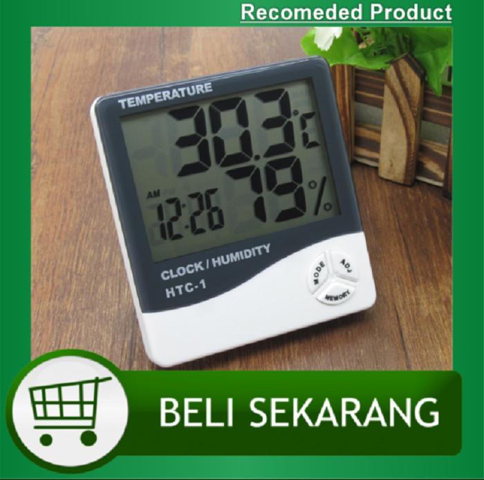 Hygrometer Temperatur Suhu Ruangan 3 In 1 Htc-1/humidity/jam Digital Termometer Alat Pengukur Suhu Ruangan - Kotak Biru By King Elektronics.