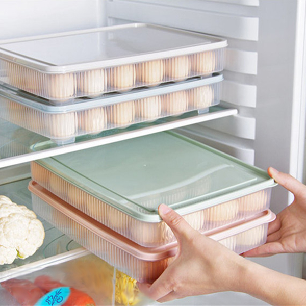 plastic Egg box kitchen egg storage box 24 Grid Eggs holder Stackable freezer storage organizers egg storage Container green