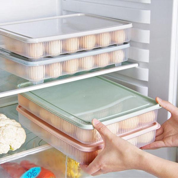 plastic Egg box kitchen egg storage box 24 Grid Eggs holder Stackable freezer storage organizers egg storage Container green
