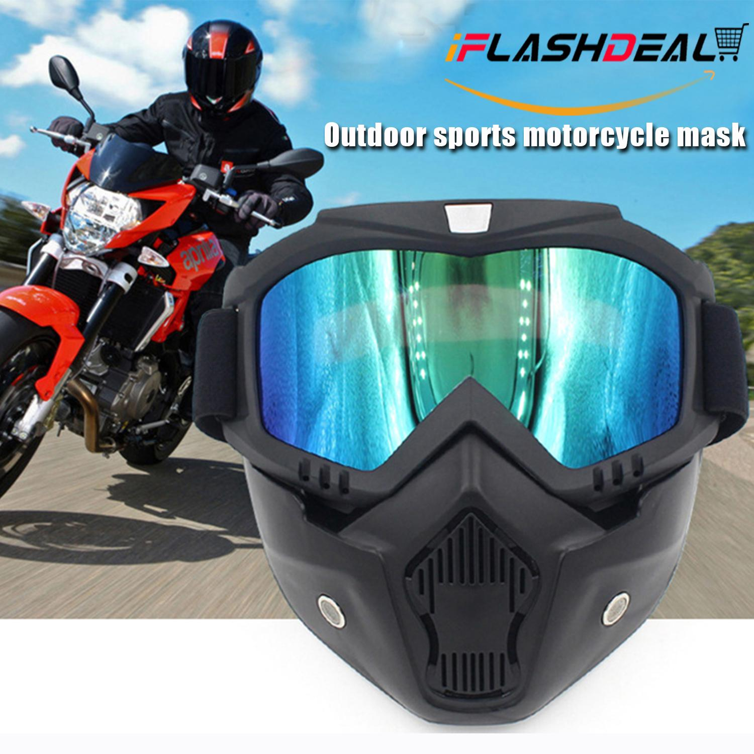 Iflashdeal Detachable Uni Mask With Motorcycle Goggles And Mouth Filter Face Masks Protect Padding Helmet Bike Bicycle Sunglasses By Iflashdeal.