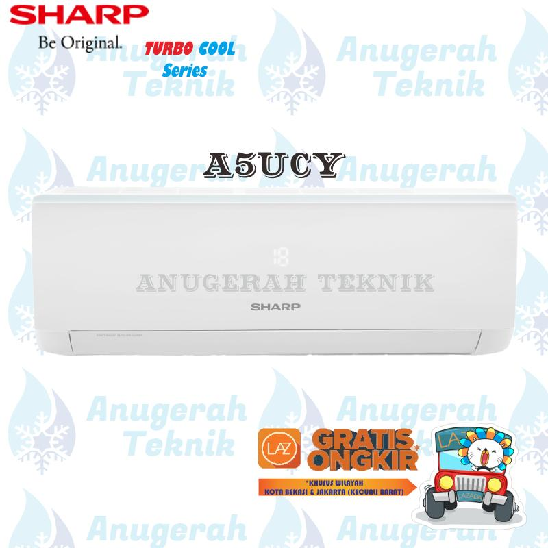 Sharp AC Split 1/2 PK R32 Turbo Cool Series Non Inverter - A5UCY