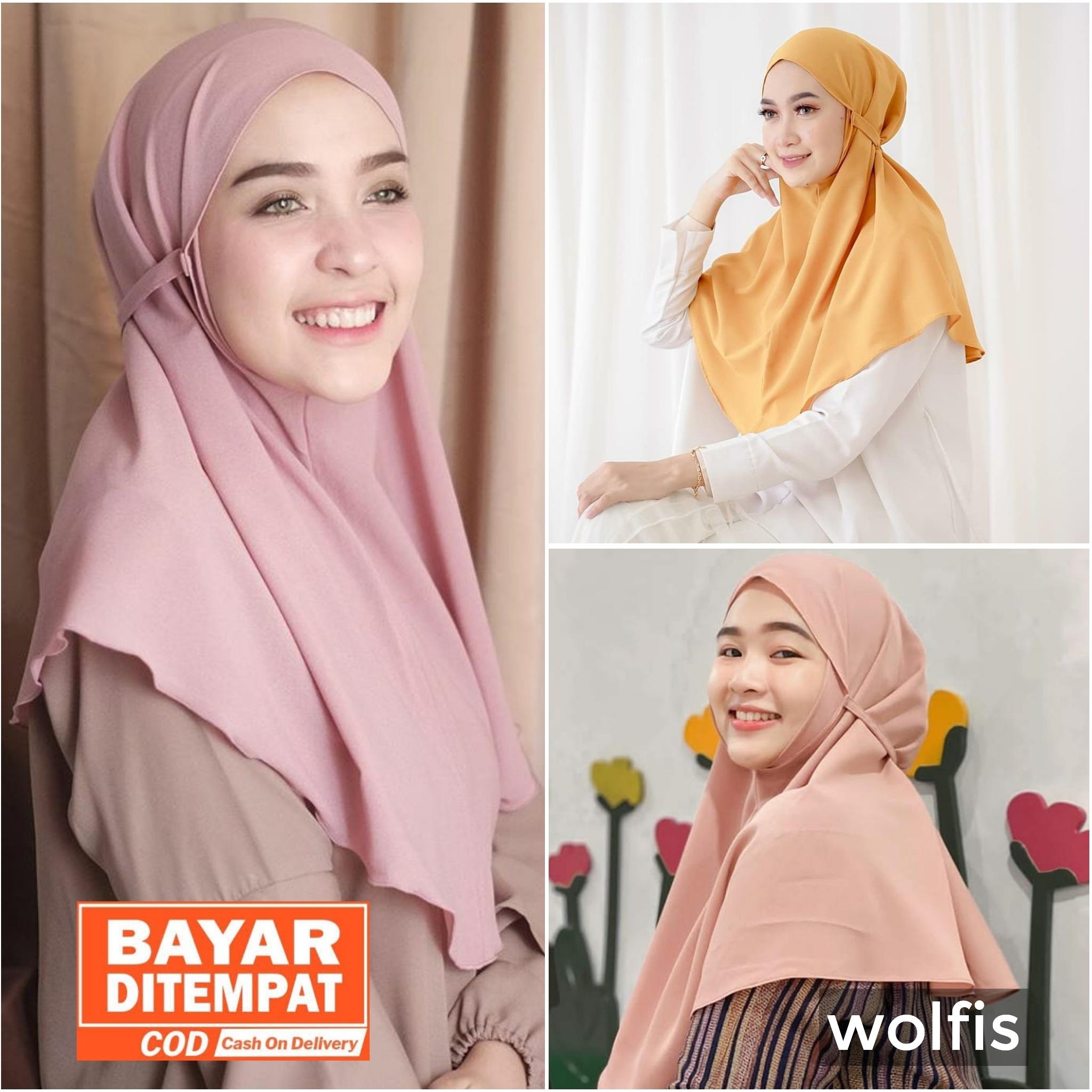 NEW!! Jilbab / Hijab KHIMAR NAURA Simple Tali Instan Bahan Wolfis Premium - Kerudung Tali