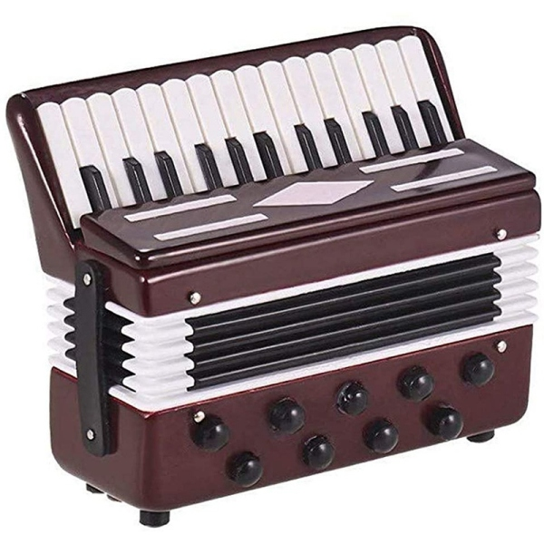 Mini Accordion Model Home Desktop Music Instrument Decoration Ornaments Music Gift with Storage Case