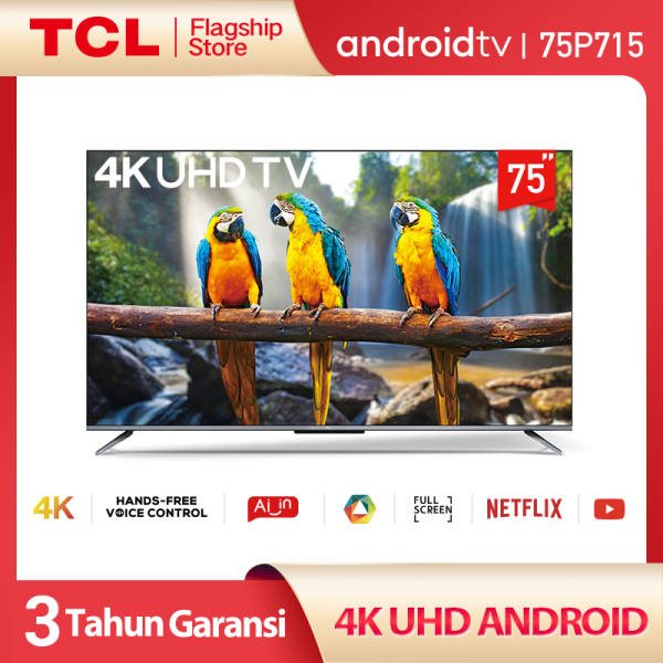TCL 75 inch Smart LED TV - Android 9.0 - 4K Ultra HD - Google Voice/Netflix/YouTube - WiFi/HDMI/USB/Bluetooth Dolby Sound (Model : 75P715)