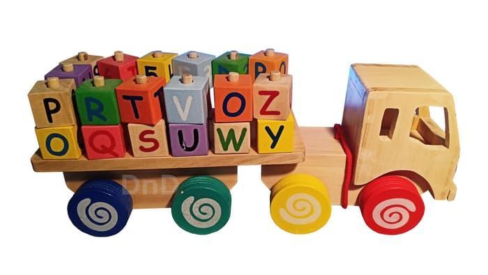 Mainan Edukasi Anak - Truk Alphabet Kayu Natural Wooden Alphabet Truck