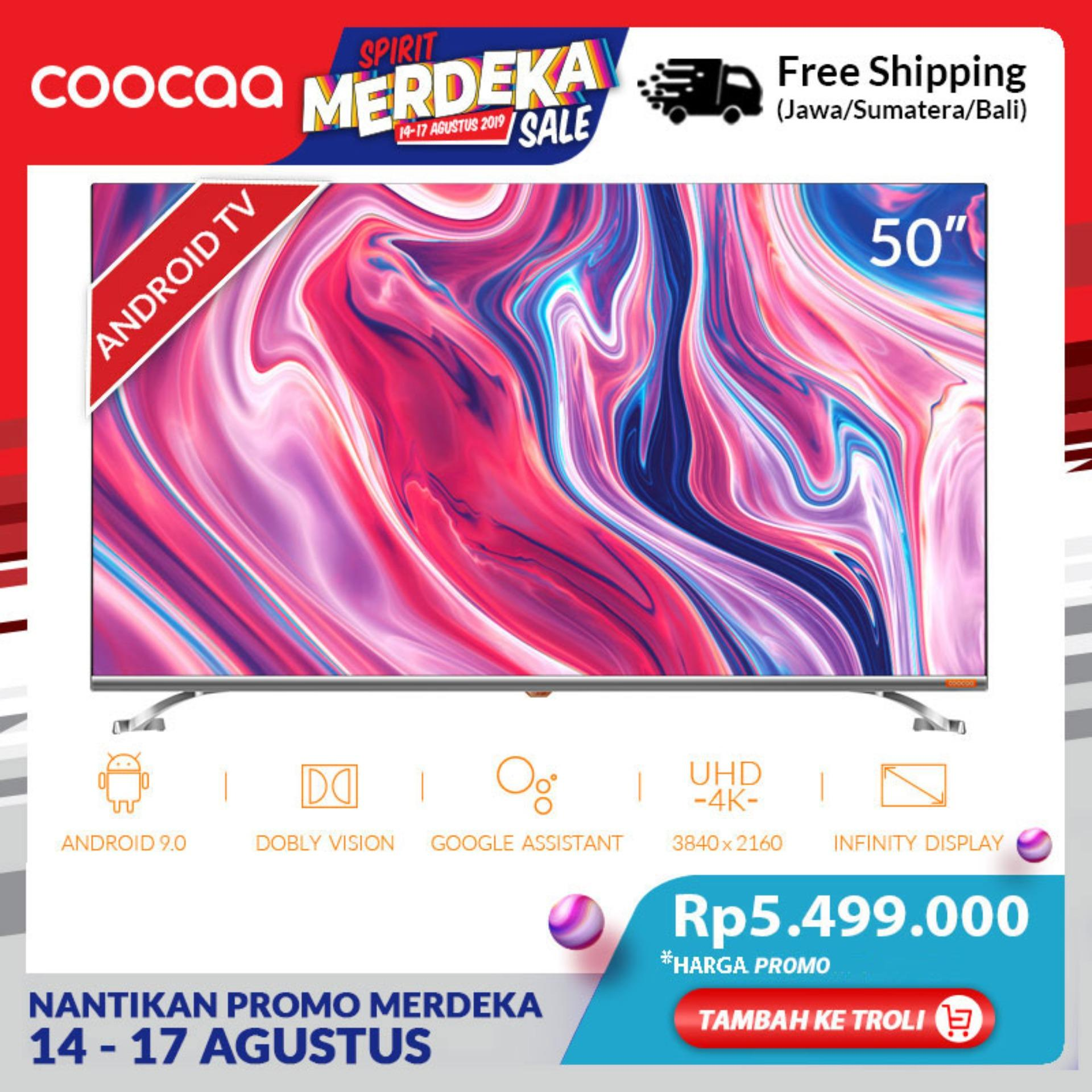 COOCAA 50 inch 4K Android 9.0 Smart LED TV- Dolby Vision- Infinity View- Ultra HD- Silm-Wifi (Model 50S6G)
