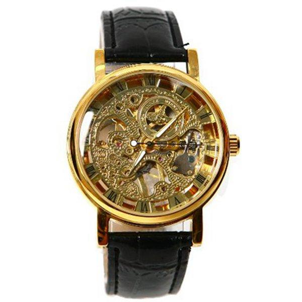 Winner Mens Gorgeous Ultra-thin Golden Hollow Carve Dial Watch Malaysia