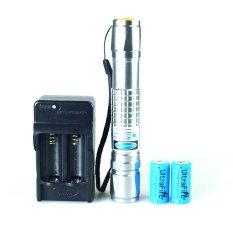 Toko 1 W Laser Pointer Biru Led Senter Laser Biru Lazer Pen Putih Baterai Dan Charger Silver Tiongkok