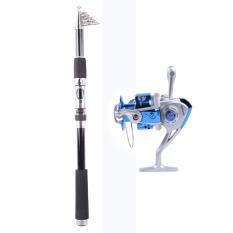2.7 M Paus Super Ringan Portable Carbon Tongkat Pancing + Rocker Reel Kumparan Memancing Kapal Ikan Reel Rod Laut Berputar Roda Line gear YL6000 (Biru)