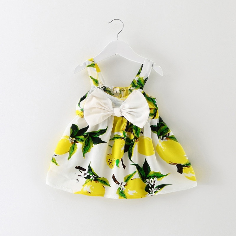 0-4 Tahun Bergaya Cotton Kids Girl Balita Musim Panas Korea Floral Lemon Pola Pencetakan Big Bow Perban Dress -Intl