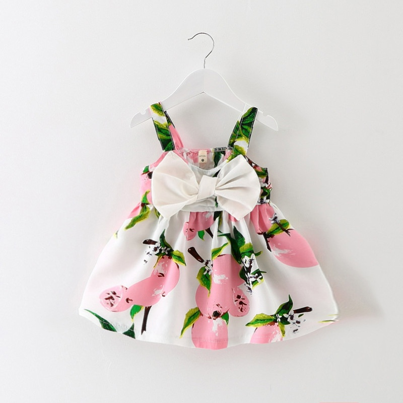 Diskon 4 Years Stylish Cotton Kids G*rl Toddler Summer Korean Style Floral Lemon Pattern Priting Big Bow Bandage Dress Intl Tiongkok