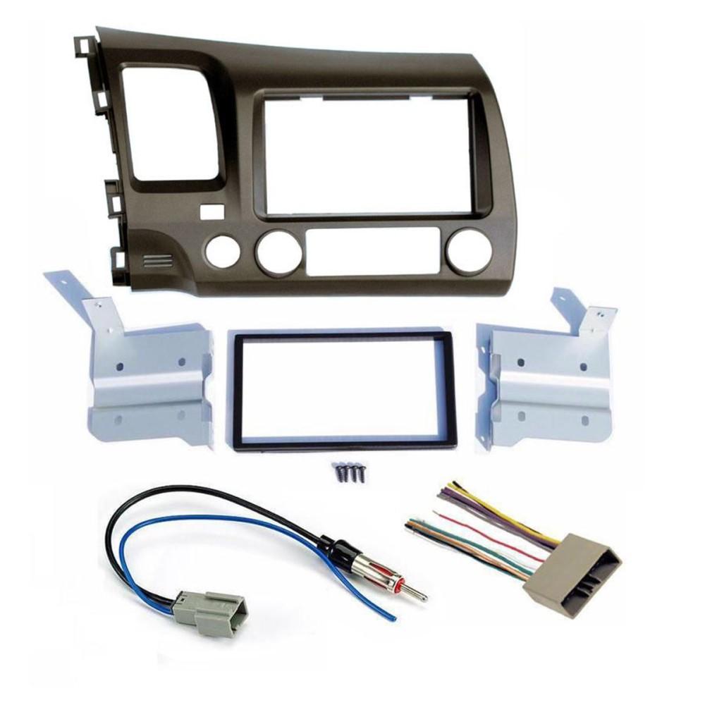 06-11 Honda Civic Kelabu Tua Radio Stereo Double 2 DIN Dash Kit W/Tali Pegangan Kabel-Intl