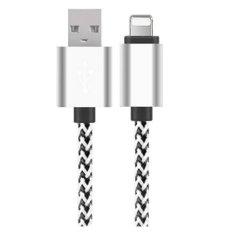 1 Meter Nylon Dikepang Kabel USB untuk IOS Ponsel Kabel dengan Konektor Lightning Sync & Charge Cable untuk IPhone IPad IPad Pro IPod (Silver) -Intl