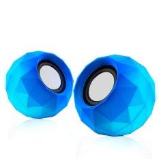 1 Pair Biru Mini Speaker Komputer Suara Yang Bagus PC USB Power 3.5mm AUX 1.2 M Kabel Bernafas LED Musik Laptop Speaker untuk Ponsel untuk Notebook-Intl