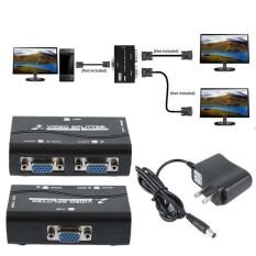 1 PC untuk 2 Monitor 2 Port VGA Video Layar Splitter Box Adaptor dengan Kabel Listrik-Internasional
