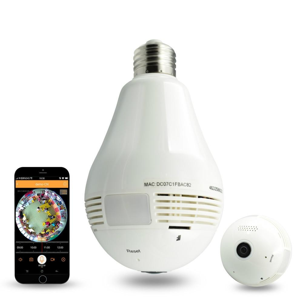 1.3MP Bulb Light Wireless IP Kamera Panoramic Wi-Fi Lampu FishEye Kamera WIFI 360. Info Harga Promo Kamera Keamanan CCTV ...