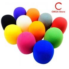 10 Pack Warna Colorful Handheld Panggung Mikrofon Kaca Depan Busa MIC Cover BARU