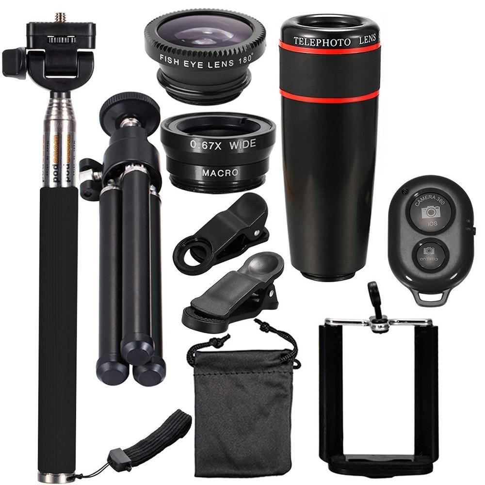 10 Pcs 8X Telephoto Telepon Seluler Lensa Universal Detachable Clip-on Lensa Wide Angle + Mata Ikan + Macro Lens + Selfie Stick + Tripod-Intl
