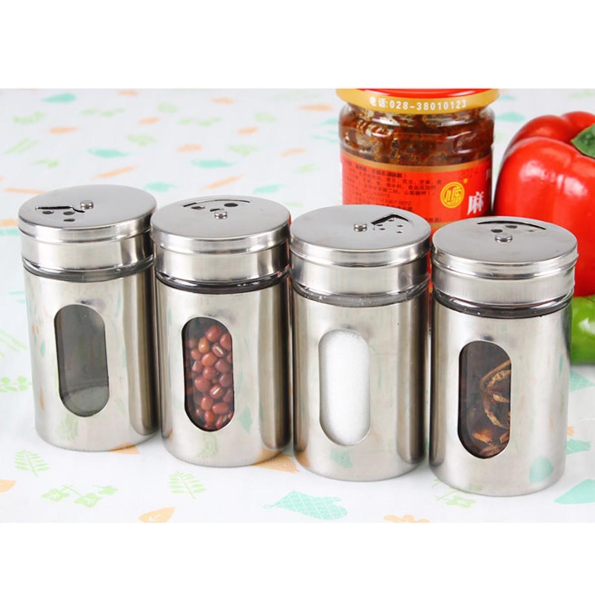100 Ml Stainless Steel Kaca Spice Shaker Jar Adjustable Top Herbs Salt Lada -Internasional