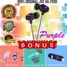 100% Original JVC HA-FX101 XX Xtreme Xplosives Deep Bass In-ear earphones - Gratis Pop Socket Phone Grip + OTG Card Reader 2 IN 1 & Kabel Charger Micro